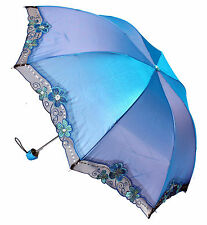 Luz Azul Plegable Impermeable Encaje Paraguas-Boda Dama De Honor - - Festival