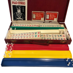 Vintage Crisloid The Dragon Mah Jong Set Complete Set Stopper Coins Tiles