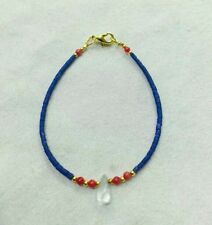 """Afghan Natural Lapis Lazuli, Coral Tiny Beads Bracelet with Crystal Pendant 7"""""""