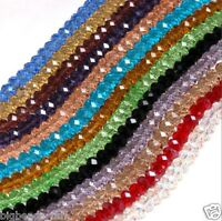 flat round rondelle crystal glass beads, 8x6,10x8mm/72pcs; 6x4,4x3mm/100pcs