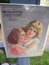 Old Vintage 1927 Calendar w/Artwork.. Nick's Shoe Repair Shop.. Bell Phone 6469