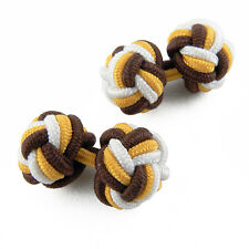 Boutons de manchette Marron Jaune Blanc tissu Mariage soirée - Brown cuffinks