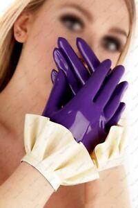 913 Latex Gummi Rubber ruffle maid servant wrist Gloves Mittens customized 0.4mm