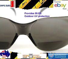 Bifocal Reading Safety Glasses  Smoke tint sunglasses  Echo Readers lens +2.0