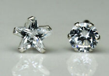 2pc Set 925 Sterling Silver Nose Stud White CZ Star Round shape nose push pins