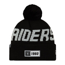 NEW ERA OAKLAND RAIDERS SIDELINE BOBBLE HAT.NFL LINED COLD WEATHER BEANIE 9W 77