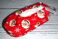 New Fuzzy Babba Elf On The Shelf Red Fleece Slippers Child Size M/L