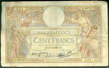 FRANCE 100 FRANCS LUC OLIVIER MERSON du 6/10/1938  ETAT: B  #  G 60747