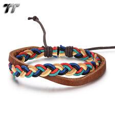 TT Mutli Colour Cotton Rope BrownLeather Bracelet Wristband (LB329) NEW Arrival