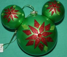 DISNEY PARK MICKEY EARS GREEN GLASS  BALL CHRISTMAS ORNAMENT RED GLITTER JEWEL
