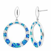 Created Blue Opal Open Circle Earrings with Cubic Zirconia in Sterling Silver