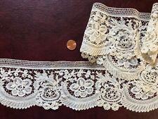 Victorian Brussels mixed Duchesse bobbin lace Point de Gaze needle lace border