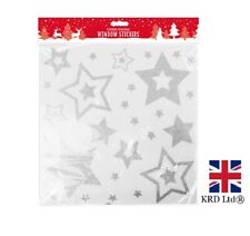 CHRISTMAS GLITTERED STAR Reusable White Window Stickers Clings Decoration XMA170