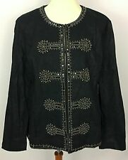 Chico's Black Military Glam Napoleon Jacket Blazer Gunmetal Gray Beads Sz 3 NEW