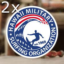2x pieza Hawaii military surfing Pegatina Sticker autocollante Maui Hot Rod