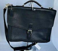 Coach Briefcase Black Leather Vintage Unisex Bag Large d1S-5319
