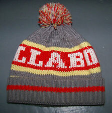 BILLABONG SNOWBOARD BEANIE KNITTED HAT / GREY RED YELLOW WITH POM POM