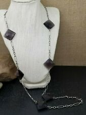 """Avon Smoke Grey Faceted Lucite Silver Tone Chain Station Necklace 36"""""""