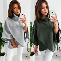 Women Cotton Blend Loose Solid Color Poncho Coat Cloak Cape Parka Jacket Outwear