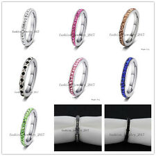 FREE Wholesale 50X 4MM CZ Inlay Cubic Zirconia Stainless Steel Ring Wedding Xmas