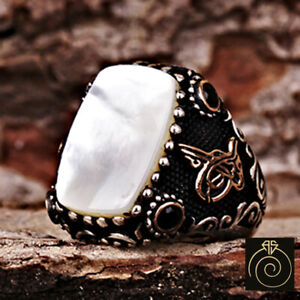Rectangle White Stone Mother Of Pearl Ring MOP Pisces Men Anniversary Gift Large