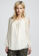 Haute Hippie  Split Shoulder Long-Sleeve Silk Blouse Top Tunic, Size S  $295.00