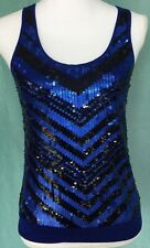 Express Women sz XS Tank Top Blue Jersey Knit Sequin Bling Stretch Stripe Dressy