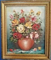 Huile Toile Nature Morte Bouquet Vase Fleurs rose dorure Peinture LEMESLE XXème