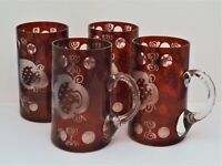 VINTAGE CZECH BOHEMIAN GLASS SET OF 4 HANDLED MUGS RED ETCHED