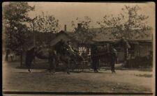 (pku) Real Photo Postcard: Horses and Buggy