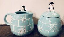 222 Fifth Arctic Holiday Penguin Creamer & Snowman Sugar Bowl