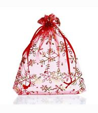 RED AND GOLD CHRISTMAS ORGANZA BAG - 12cm by 16cm