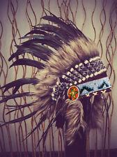 N63 coiffe indienne / Colorant naturel noir indien coiffe de plumes / Warbonnet.