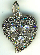 """Heart 925 Sterling Silver & Marcasite & Clear Stone Heart Pendant  1.1/4"""""""