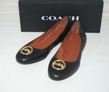 NIB Authentic COACH BAILEY Black Leather with Gold Ballet Shoes Size 9 M
