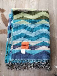 Missoni Home Orange Label 100% Wool Zigzag Throw Blue / Green - New