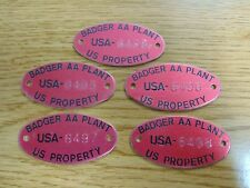 5 Badger Ordnance Works Baraboo, WI Army Ammunition Powder Plant Tags Military