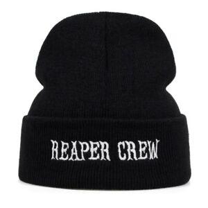 Adult Biker SOA Sons of Anarchy TV Reaper Crew Black Knit Beanie - New