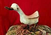 """COOL! FAUX Wooden GOOSE/DUCK (11-1/2""""L x 7-1/2""""T) CERAMIC?SIGNED BROWN CHEST DOT"""