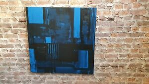 Huge Original 1990's Abstract Oil Painting on Canvas in Blue. 1m sq