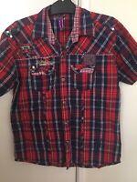 Friends Denim Co Ltd Short Sleeve Button Shirt Mens Checked Size XL Extra Large