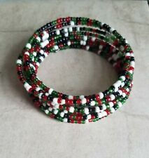 Bangle Bracelet green red tribal Ten Thousand Villages African Handmade Beaded