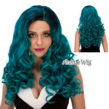 60CM Black Mixed Turquoise Green Long Curly Halloween Fashion Cosplay Full Wig