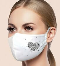 Facemask Filter Pocket Washable Breathable Polyester Rhinestone Feel White