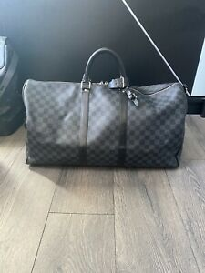 Louis Vuitton Damier 55 Keepall Bandouliere - Travel Duffle Bag - 100% Authentic