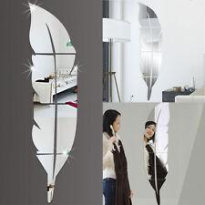 3D Large Sticker Autocollant Miroir Plume en Acrylique Mural Amovible 84X20CM