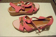 girls the childrens place pink canvas strappy cork wedge sandals shoes size 4
