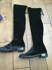 STUART WEITZMAN VELVET OVER THE KNEE THIGH HIGH BOOTS BLACK SIZE 39 UK 6.5