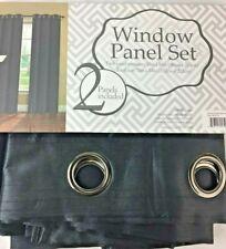 """Window Panel Set Jane Faux Silk Black Grommet Curtains Pair 38 x 84"""" - 2"""