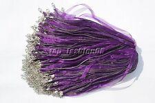 wholesale 20pcs Purple Organza Ribbon Necklace Silk Cord Clasp 450mm FREE